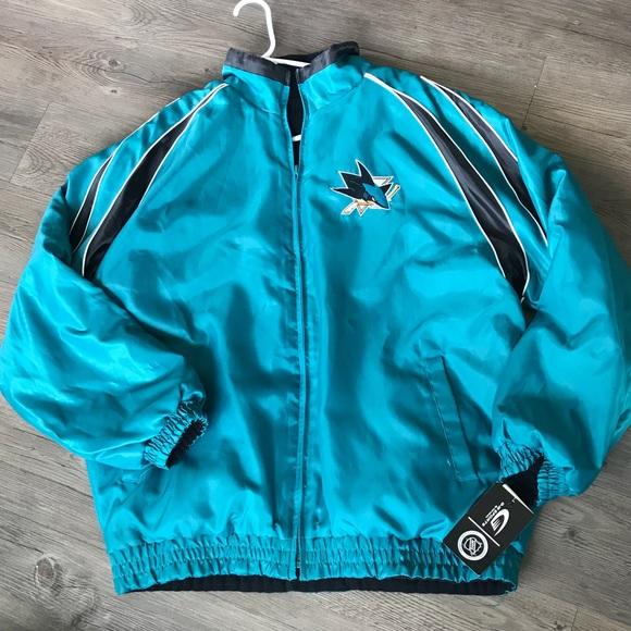 Teal San Jose Sharks NHL Boys Toddlers Full Zip Hooded Bomber Jacket Coat